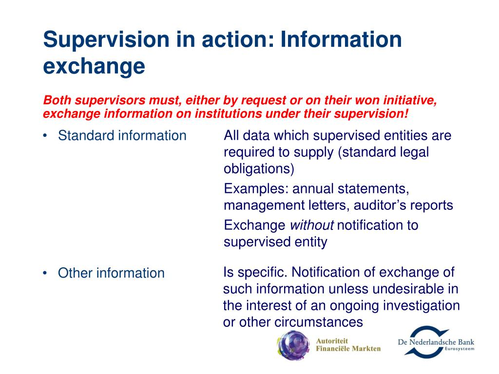 Supervision in action: Information exchange