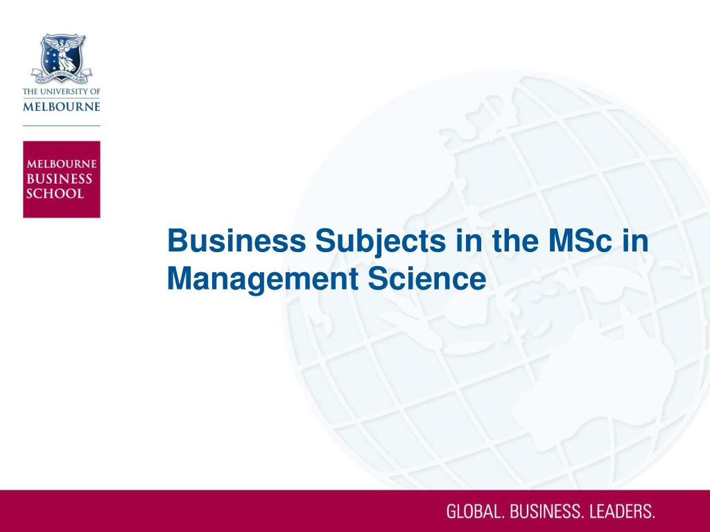 Business Subjects in the MSc in Management Science