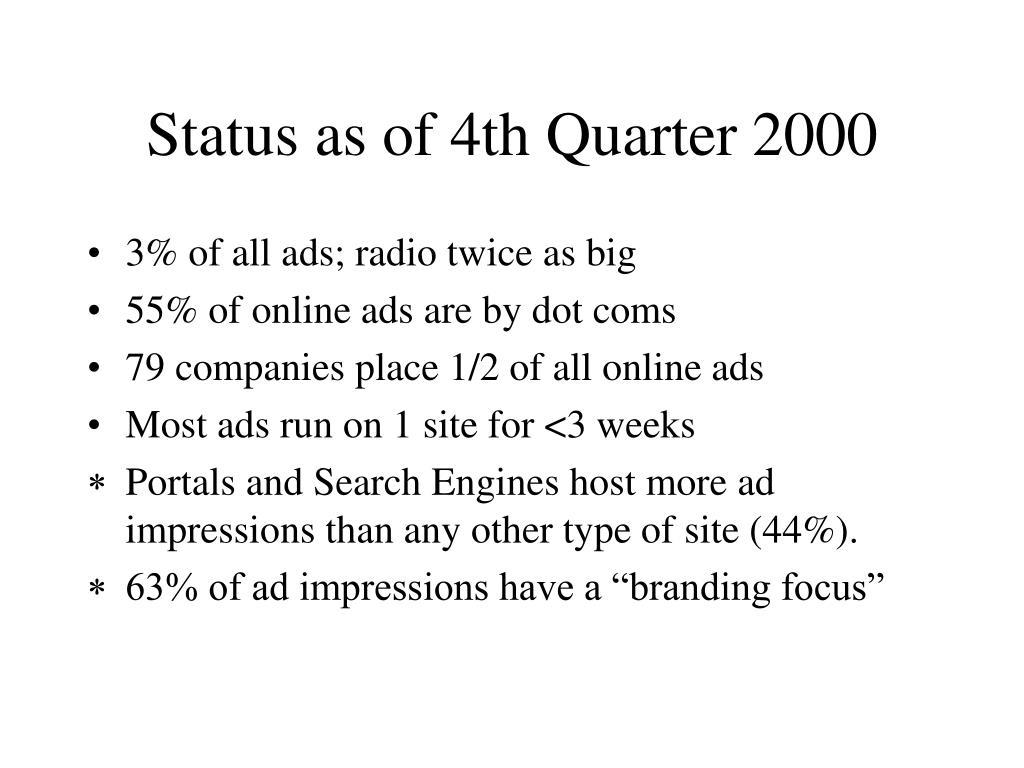 Status as of 4th Quarter 2000