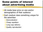 some points of interest about advertising media
