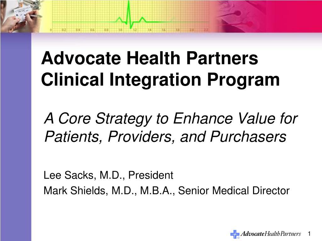 advocate health partners clinical integration program l.