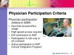 physician participation criteria