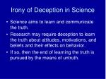 irony of deception in science