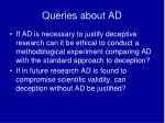 queries about ad