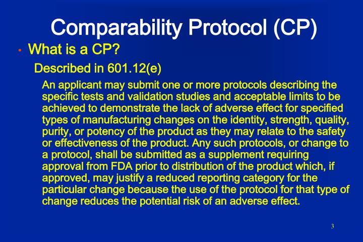 Comparability protocol cp