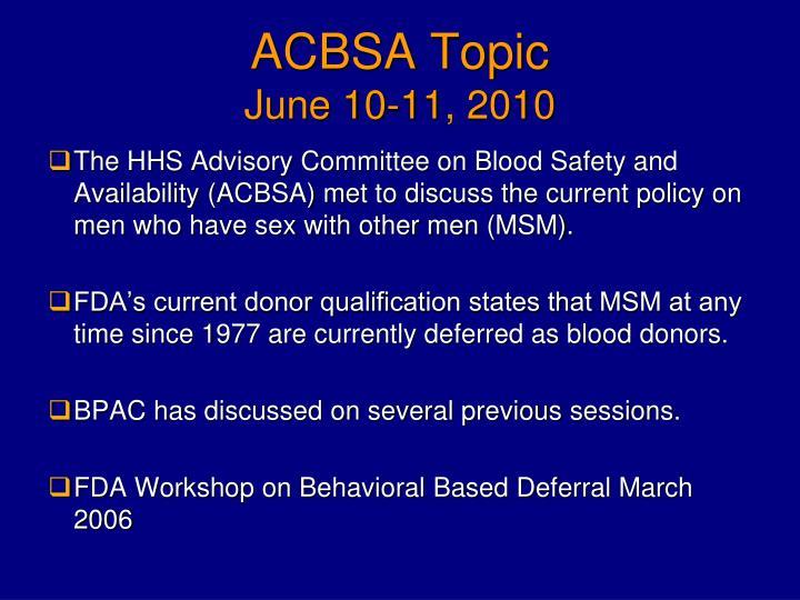 Acbsa topic june 10 11 2010