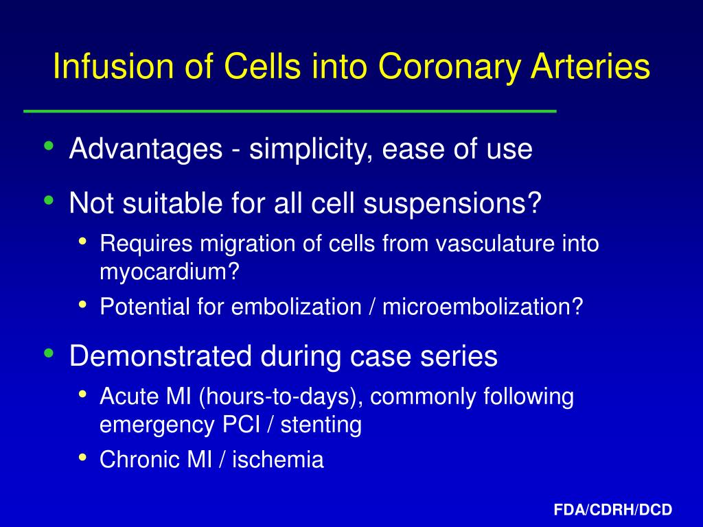 Infusion of Cells into Coronary Arteries
