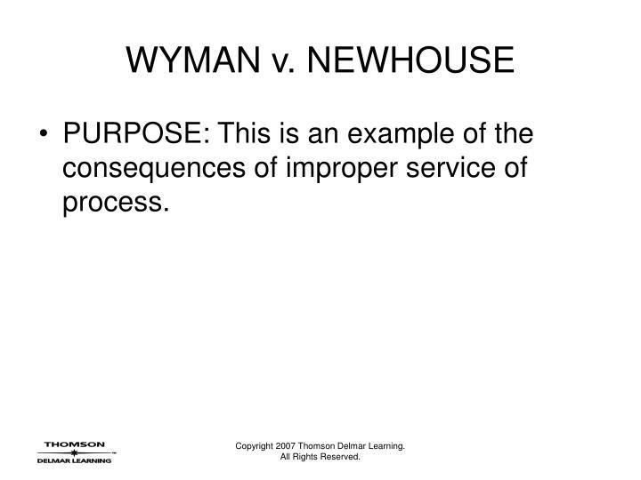 Wyman v newhouse