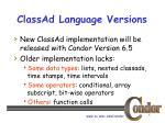 classad language versions