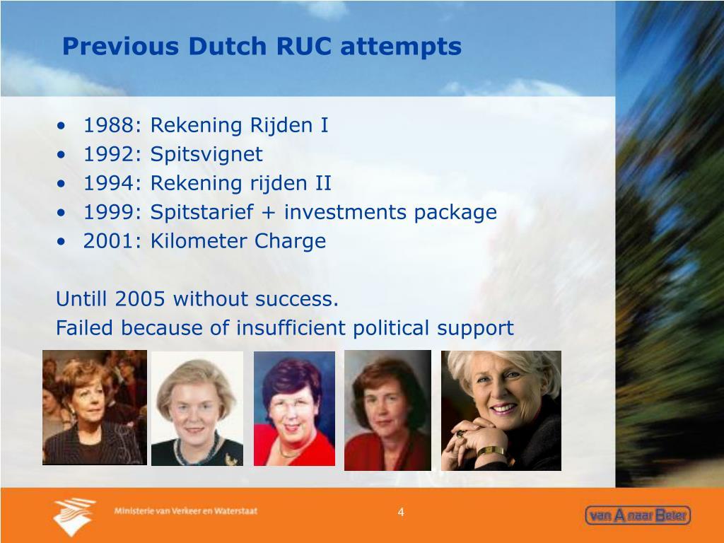Previous Dutch RUC attempts