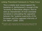 linking theoretical framework to thesis focus