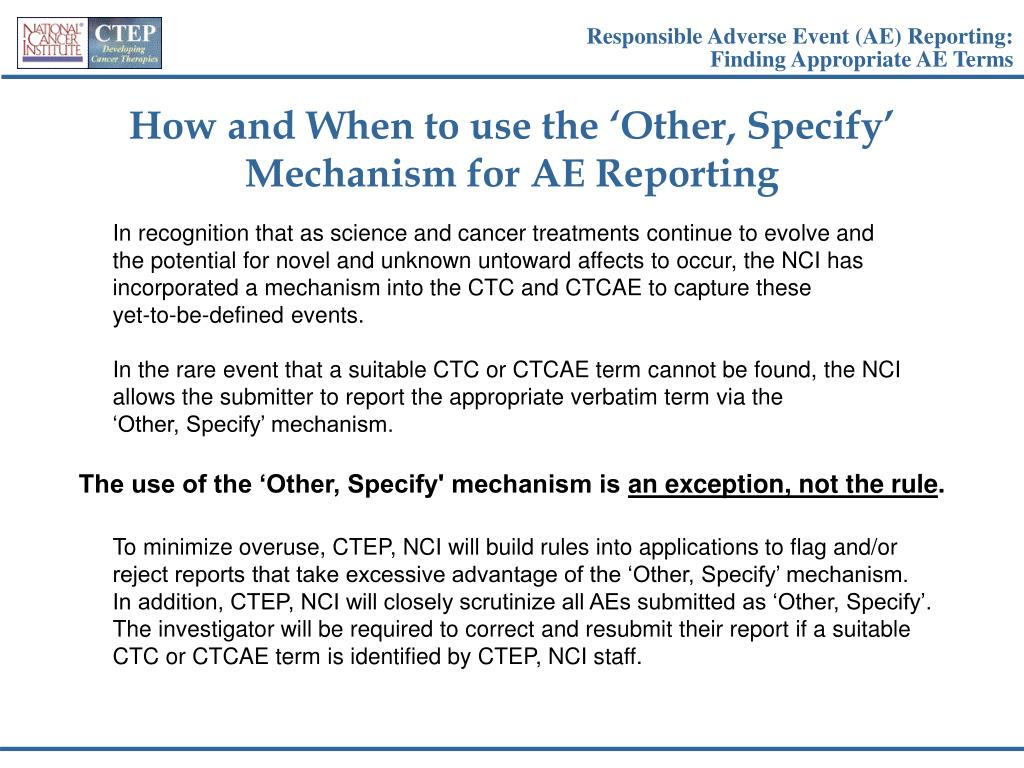 Responsible Adverse Event (AE) Reporting: Finding Appropriate AE Terms