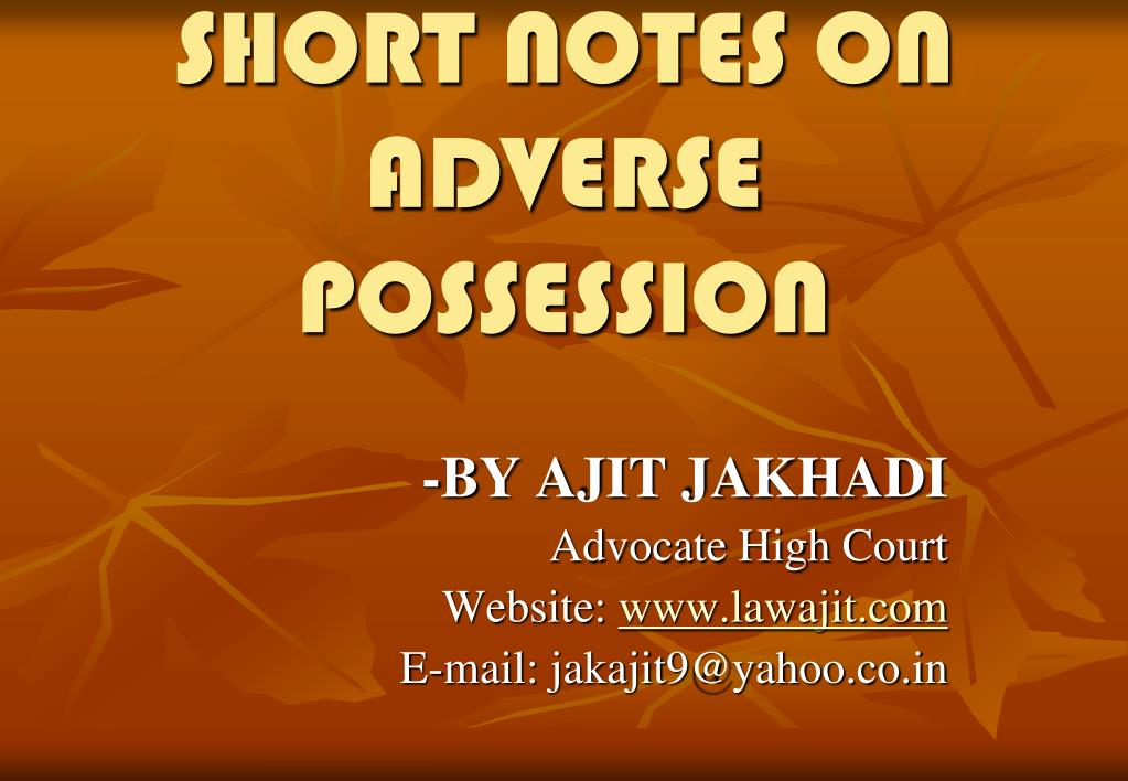 short notes on adverse possession l.