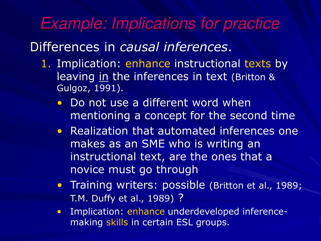 Example: Implications for practice