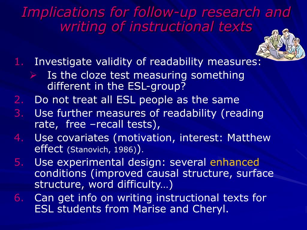 Implications for follow-up research and writing of instructional texts