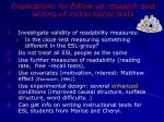 implications for follow up research and writing of instructional texts