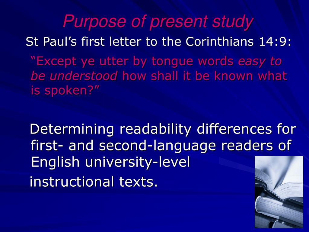Purpose of present study