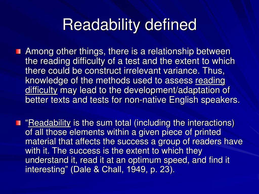Readability defined