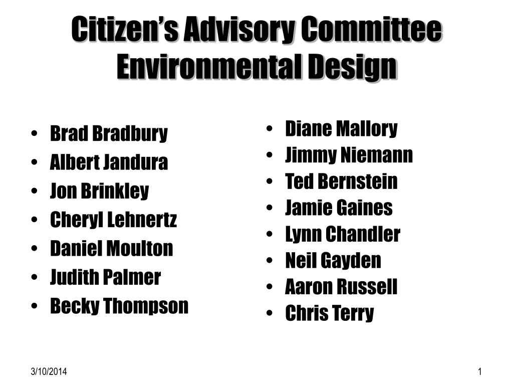citizen s advisory committee environmental design l.