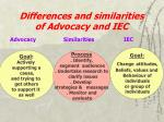 differences and similarities of advocacy and iec