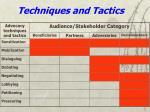 techniques and tactics