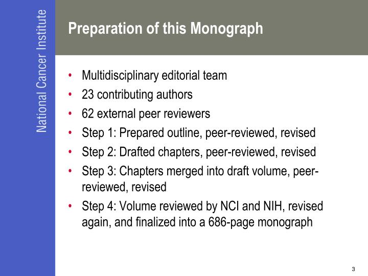 Preparation of this monograph