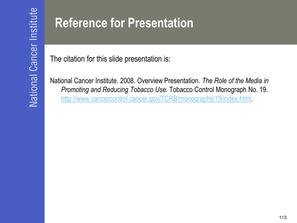 Reference for Presentation