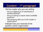 content 1 st paragraph
