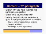 content 2 nd paragraph