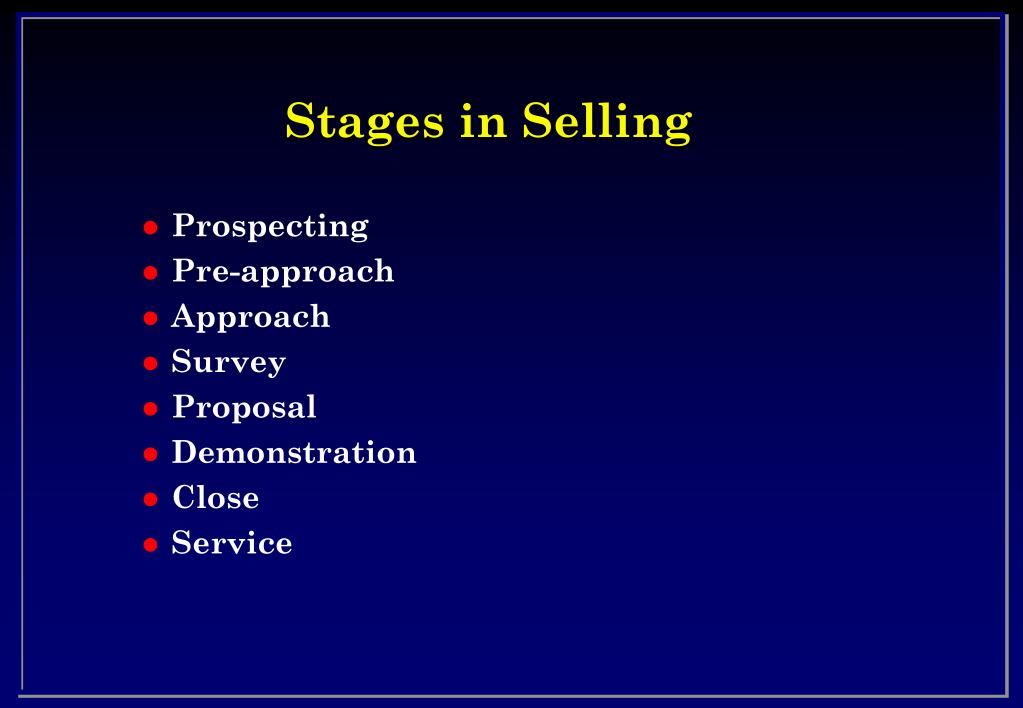 Stages in Selling