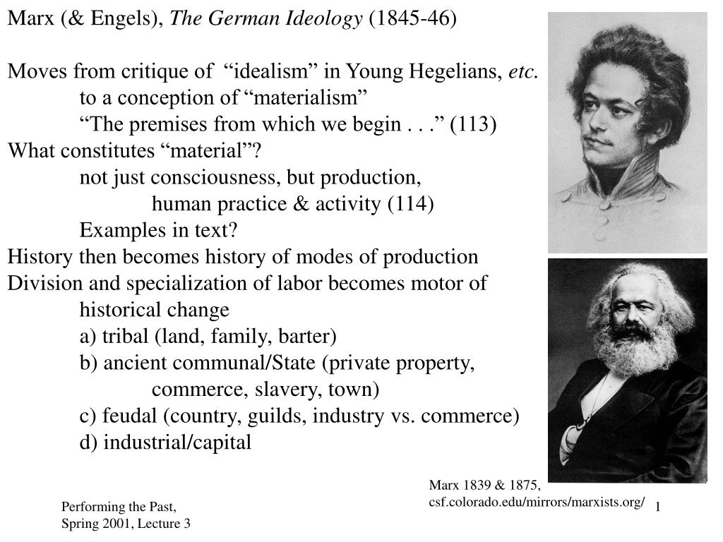 an analysis of critique on the nature of history in marxs german ideology Phrases against phrases phrases against phrases marx materialist critique, ideology, determinism, history introduction in this paper i shall examine the marxist method of critique marx's materialist conceptualization of history was a method which developed in opposition to the prevailing idealist-hegelian orthodoxies of german philosophy on.