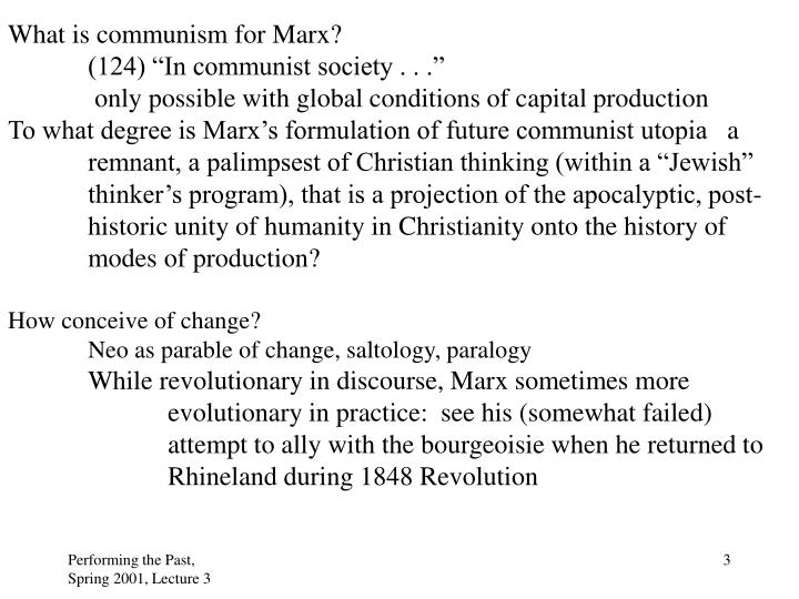 What is communism for Marx?
