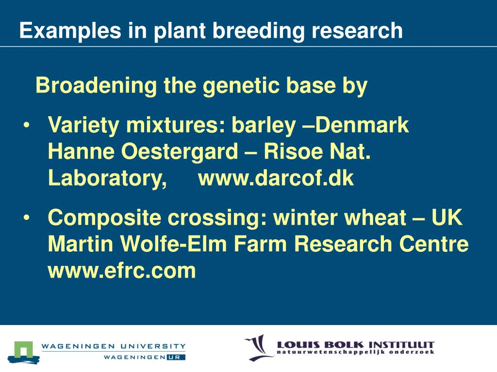 Examples in plant breeding research