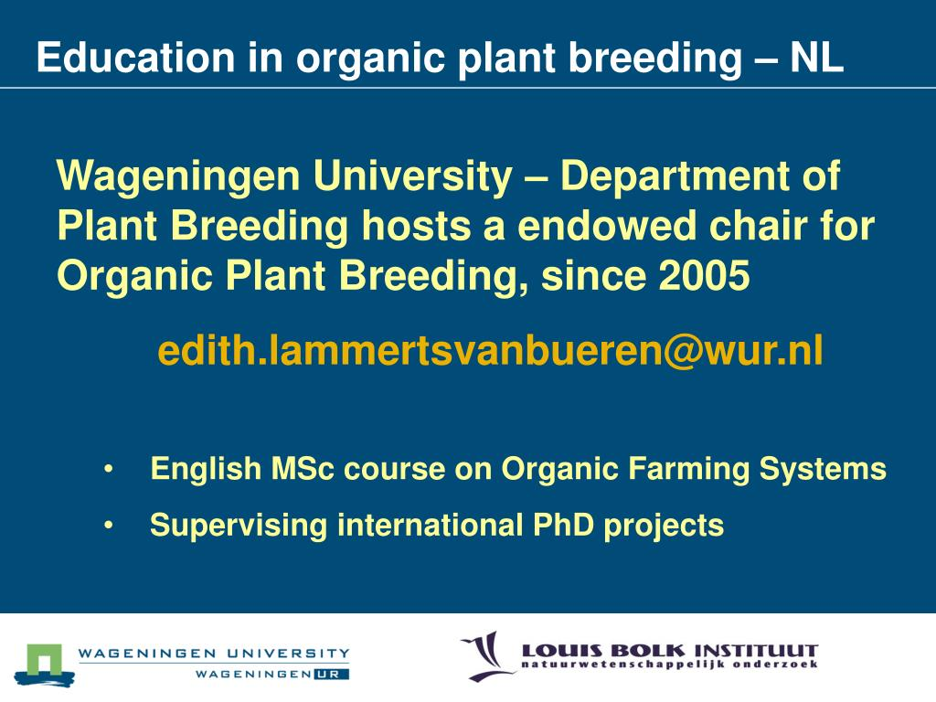Education in organic plant breeding – NL