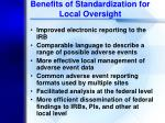 benefits of standardization for local oversight