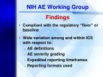 nih ae working group findings