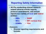 reporting safety information