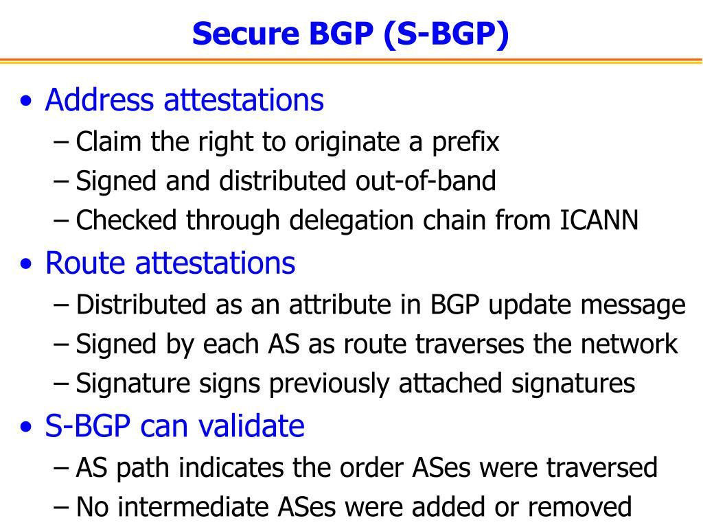 Secure BGP (S-BGP)