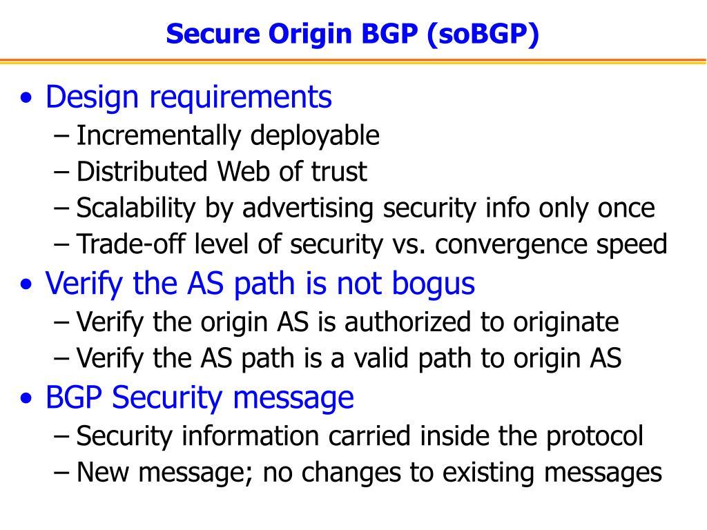 Secure Origin BGP (soBGP)