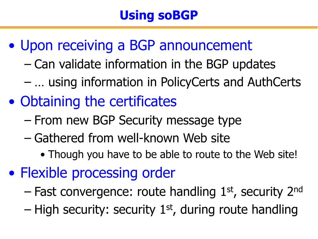 Using soBGP