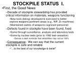 stockpile status i