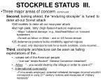 stockpile status iii