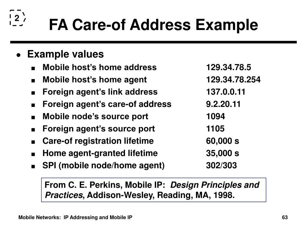FA Care-of Address Example