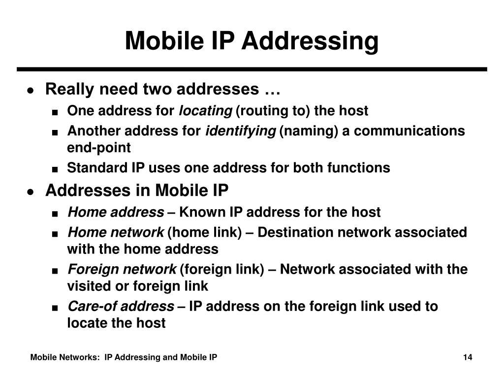 Mobile IP Addressing