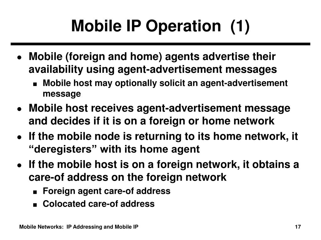 Mobile IP Operation  (1)
