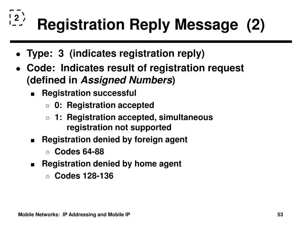 Registration Reply Message  (2)