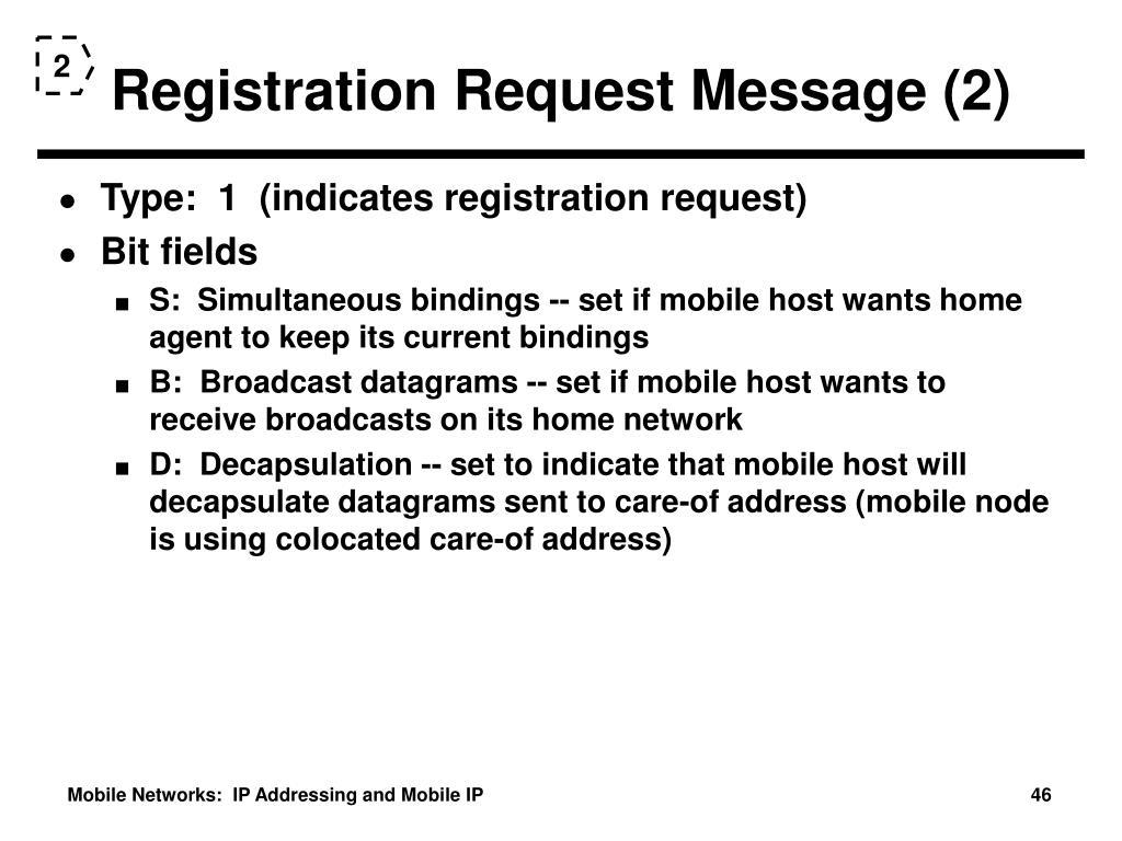 Registration Request Message (2)