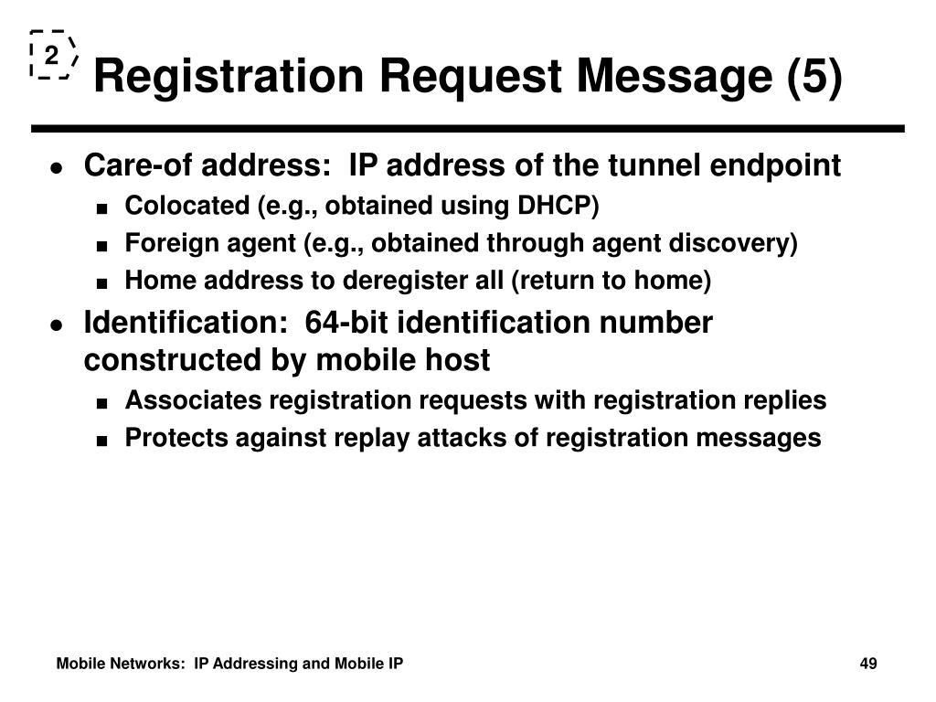 Registration Request Message (5)