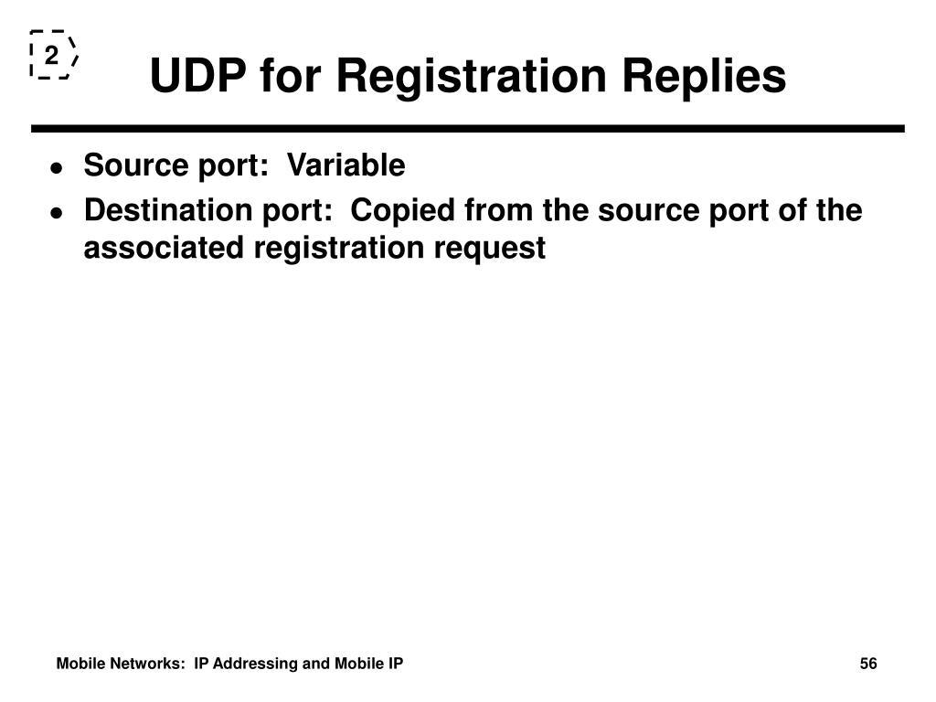 UDP for Registration Replies
