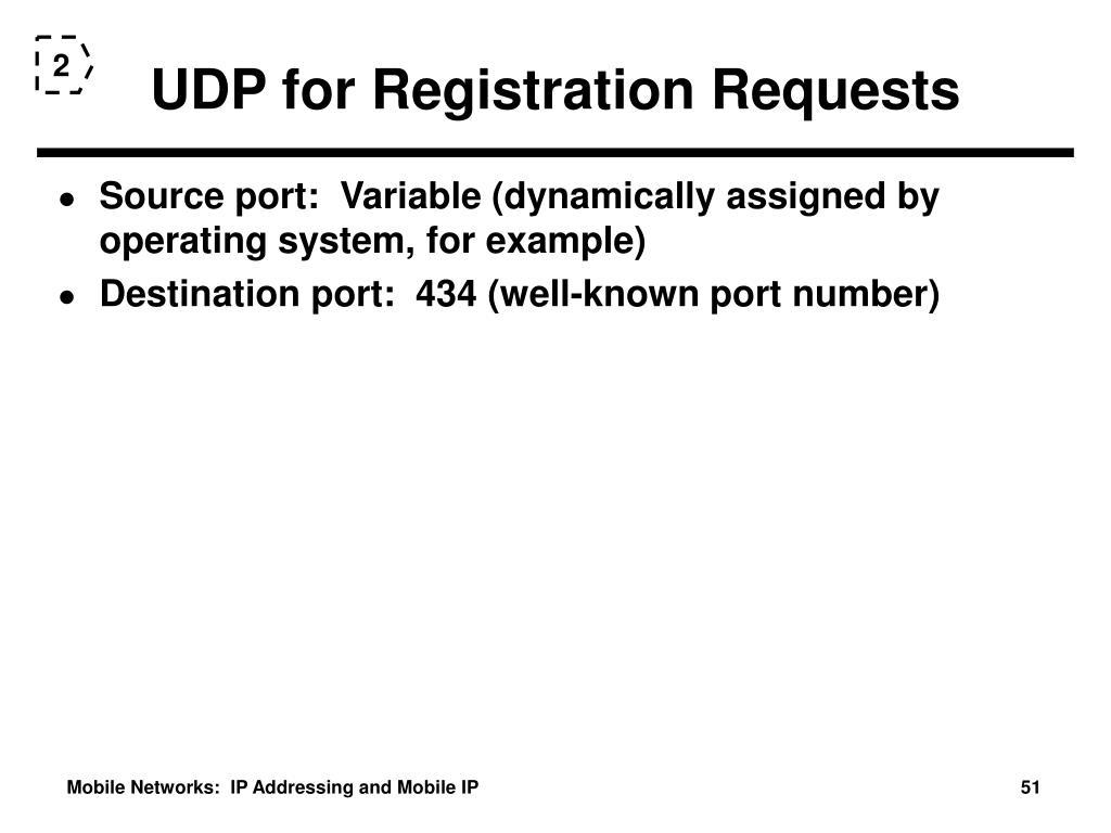 UDP for Registration Requests
